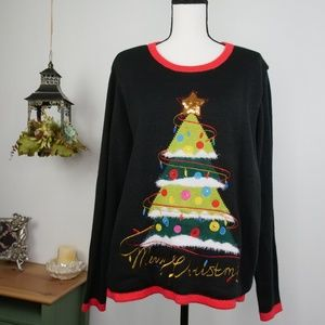 Light Up Ugly Christmas Sweater Tree Black Soft XL